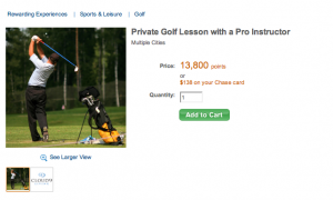 Chase Ultimate Rewards offeres a variety of golf experiences including a private lesson with a pro instructor.