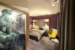 While plain from the outside, the rooms in the Hotel Indigo Berlin Centre - Alexanderplatz have many cool funky details.