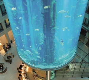 The lobby of the Radisson Blu Hotel, Berlin is home to the world's largest cylindrical salt-water aquarium.