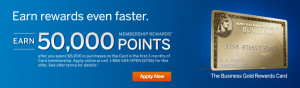 Earn 50,000 Membership Rewards points with the Business Gold Rewards Card.