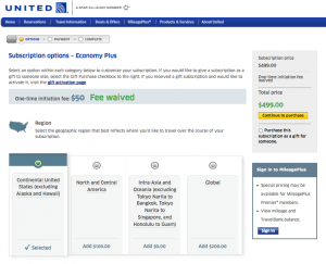 United has introduced subscriptions for Economy Plus seating and checked bags.