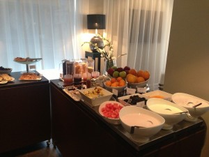 The extensive breakfast buffet cost the equivalent of $22.