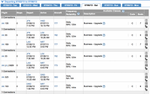 Decent upgrade availability on JFK-HND, especially for last minute travel