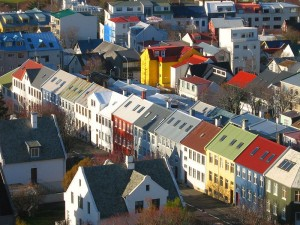 The distinctive colored rooftops of Reykjavik.