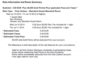 I redeemed 38,000 points for a two night stay.