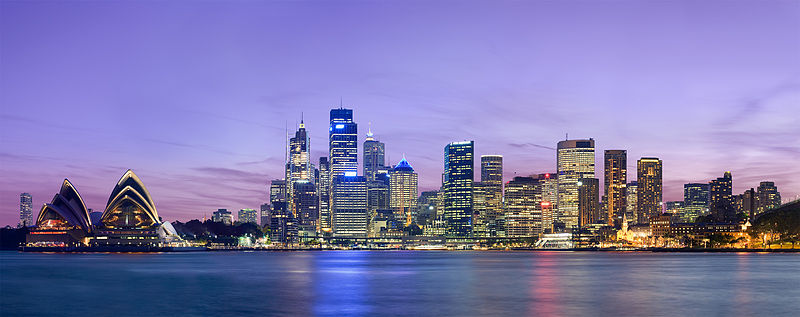 The Sydney skyline at night.