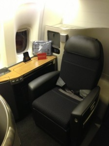 My first class seat on American's 777-300.