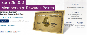 The Amex Premier Rewards Gold's 15,000-point bonus is my top spending priority.