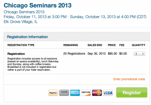There are only 25 spaces left for the Chicago Seminars Registration 2013.