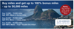 US Airways buy miles bonus