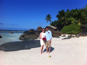My wife and I on the beach of the Hilton Labriz in the Seychelles after renewing our vows.