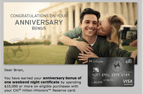HHonors Reseve gives you a free night if you reach $10,000 spend