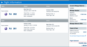 JFK-AMM in Business Class for 135,000 miles and $85 in taxes and fees.