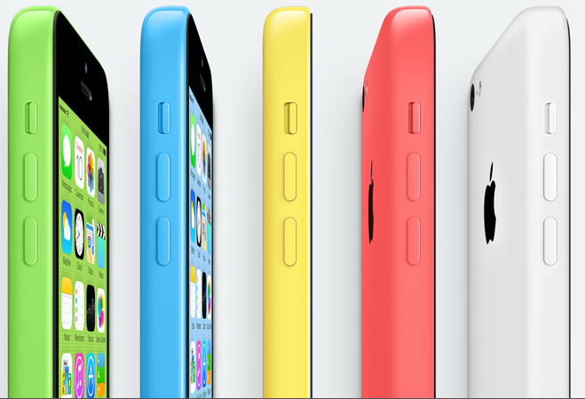 The iPhone 5c comes in a rainbow of colors.