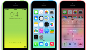 The iPhone 5c is complimented by the iOS7 operating system.