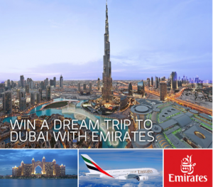 "Enter the ""Win a Dream Trip to Dubai with Emirates,"" now through November 21, 2013."