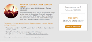SPG is letting members pay with points for concerts and sports events in NYC this winter.