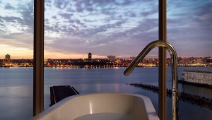 Bathroom with a view at the Standard High Line