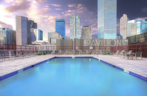 A beautiful poolside view at the Crowne Plaza Denver.