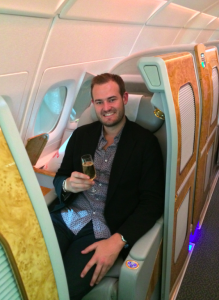 Cheers! A quick glass of champagne before taking off was just what I needed.