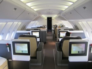 The first class cabin on the 747's top deck.