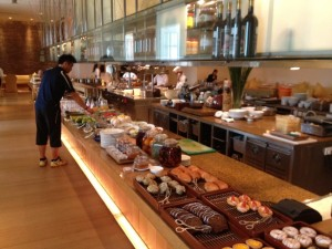 Checking out the breakfast buffet at Opera.