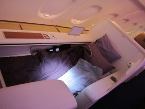 A shot of the seat fully reclined into a bed.