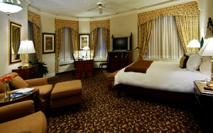 A large guestroom at the Brown Palace.