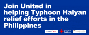 United Airlines is giving bonus miles for typhoon donations.