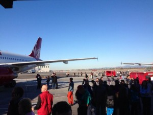 Passengers evacuated at Terminal 3 - photo by Tory Belleci.