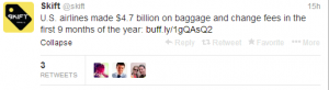 US airlines made 4.7 billion on baggage charges in the first 9 months of 2013.