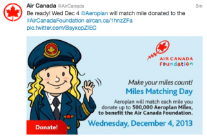 Donate Aeroplan and Air Canada will match them.