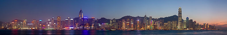 The Hong Kong skyline at dusk.