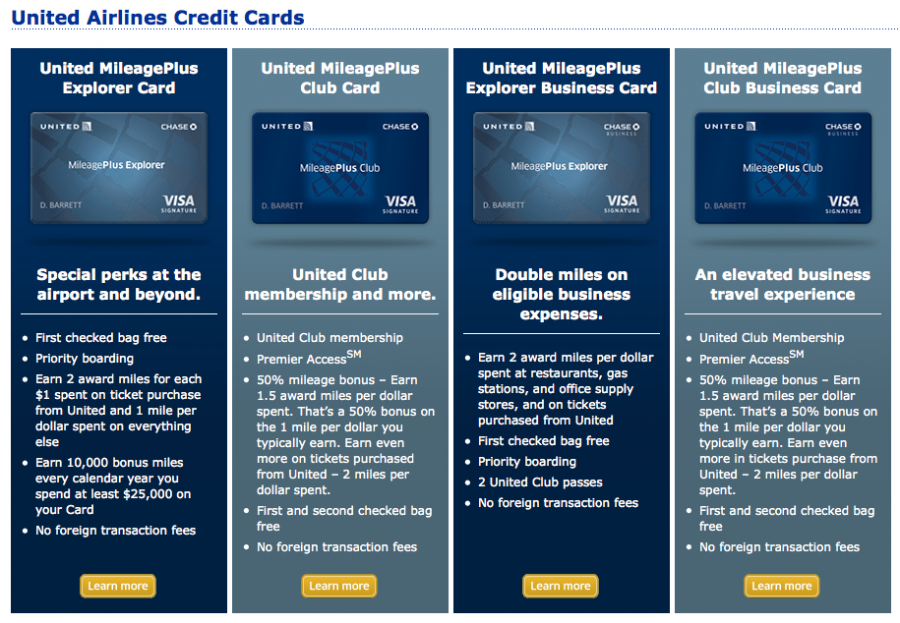 In-Depth Analysis of United Credit Card Benefits; Using Ultimate Rewards to Get United Miles; Compare The Different United Mile-Earning Credit Cards; United MileagePlus® Club Card vs United℠ Explorer Card. The best way to understand the difference between the United MileagePlus® Club Card and the United℠ Explorer Card is to look at their annual fees.