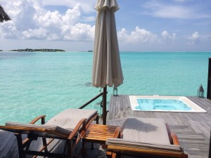 Spa Overwater Villas have hot tubs and are clustered around the main spa