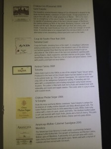 The red wine list had choices from all over the world.