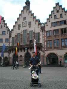 Frankfurt's beautifully reconstructed main square with the famous Romer buildings.