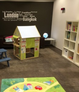 My daughter spent time in the cute little playroom.