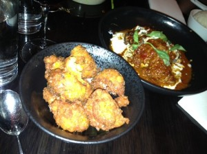 The curry duck and sweet corn fritters.
