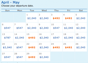 May cheap fare dates