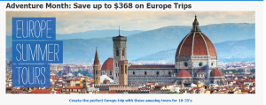 Book a summer Europe trip and save 10%.