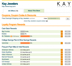 The Kay Jewelers bonuses listed on EVReward.