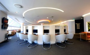 One of the business areas in the SkyTeam lounge at Heathrow