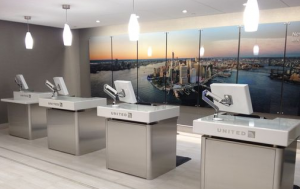 Check in podiums at the new United Global Services Reception.