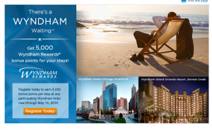 Wyndham hotels are offering a 5000 point bonus.