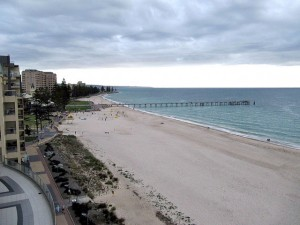 The beach at Glenelg glimpsed from the Oaks Pier