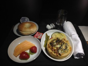 The turkey bacon quiche with grilled veggies and fruit.