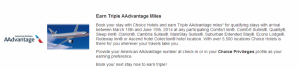 Earn triple AAdvantage miles on Choice hotel stays.
