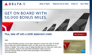 Alaska – Delta Battle For Seattle Continues – Targeted Delta Gold Amex Offer 50,000 Miles and $200 Statement Credit