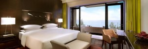 An ocean view guest room at the Hyatt Regency Phuket.